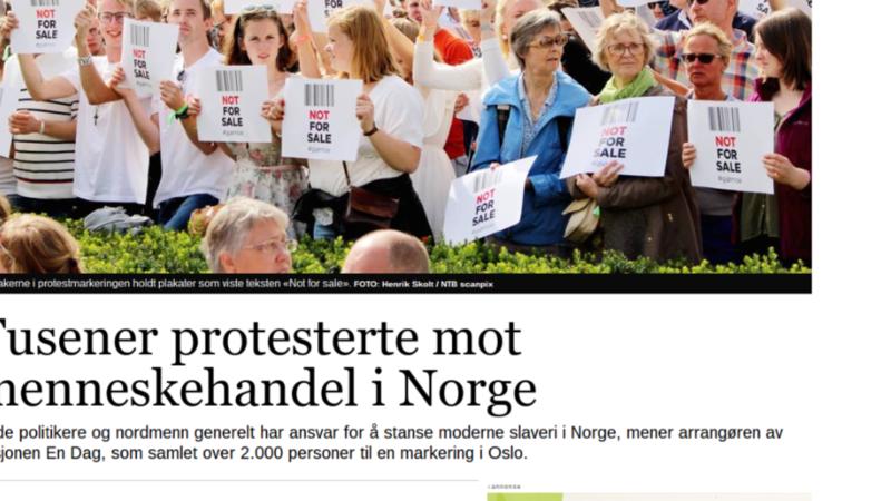 Faksimile: Tusener protesterte mot menneskehandel i Norge